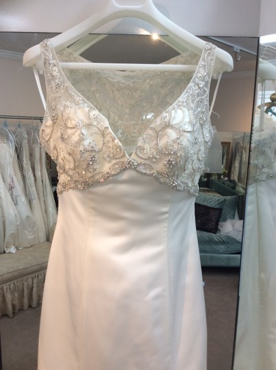 Casablanca Ivory/Nu/Silver Satin Beaded Bodice Sheer Back 2193 New Modern Wedding Dress Size 10 (M)