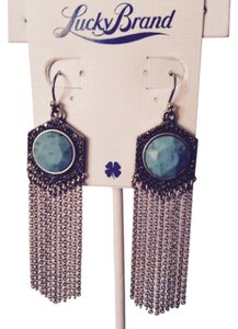 Lucky Brand Faceted Turquoise Stone & Gold Marcasite Gemstone Multi-Chain Earrings