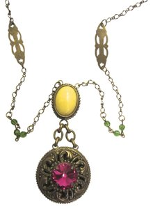 Sorrelli Sorrelli Long Pink Yellow Pendant Antique Gold Tone Swarovski Necklace