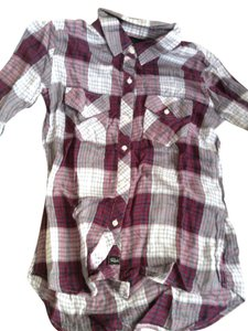 Rails Button Down Shirt Dark Red white Gray