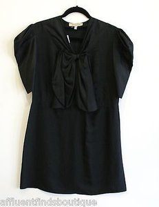 See by Chloé short dress Black Chloe Silk Bow Poofy Sleeves on Tradesy