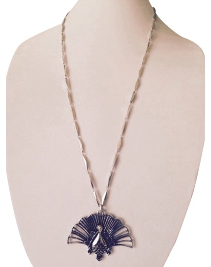 Lucky Brand Lucky Brand Silver-Tone Diamond Chain Blue Stone Peacock Necklace