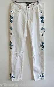 Ralph Lauren Blue Label Beaded White 27 Or Straight Leg Jeans