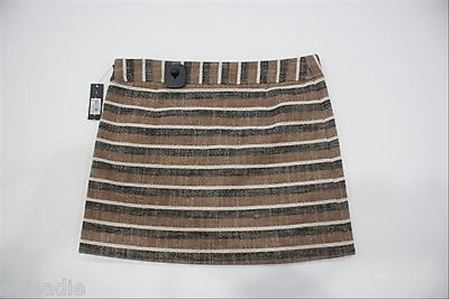 Theory Ronali Stripe Mini Skirt Brown