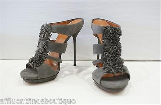 Gucci Suede Strappy Mules Heels W Fringe Or Gray Pumps