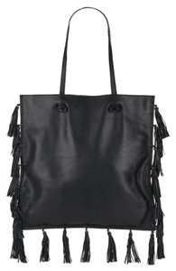 Loeffler Randall Fringed Fringe Leather Shoulder Shopper Tote in Black