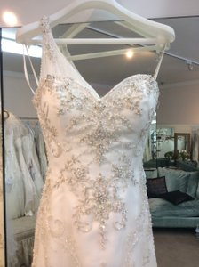 Casablanca Ivory/Ivory/Silver Sheer Beaded Over Lay. 2074 Modern Wedding Dress Size 6 (S)
