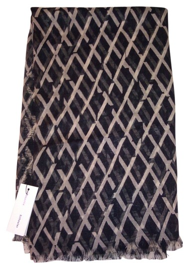 Proenza Schouler Black and cream Grid Scarf