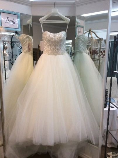 Casablanca Ivory/Ivory/Silver Tulle and Beaded Bodice. 2188 New Traditional Wedding Dress Size 12 (L)