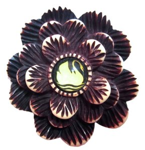 Hotcakes Swan Flower Handcrafted Carved Deco Crafts Bakelite-Look Pin