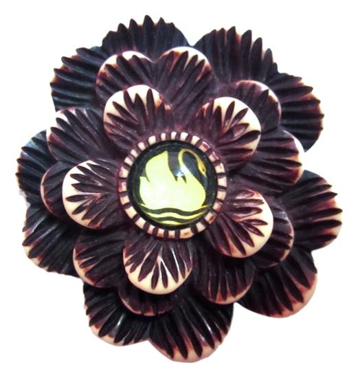 Preload https://item5.tradesy.com/images/brown-and-white-hotcakes-swan-flower-handcrafted-carved-deco-crafts-bakelite-look-pin-4981714-0-0.jpg?width=440&height=440