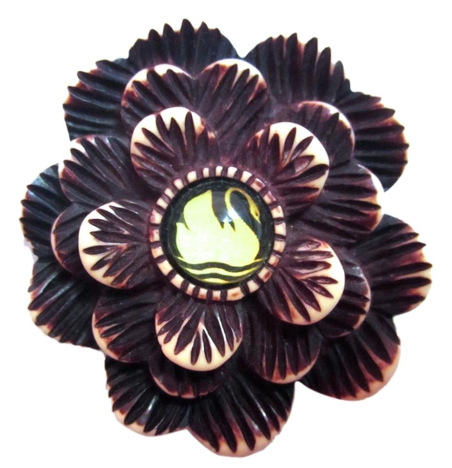 Brown And White Hotcakes Swan Flower Handcrafted Carved Deco Crafts