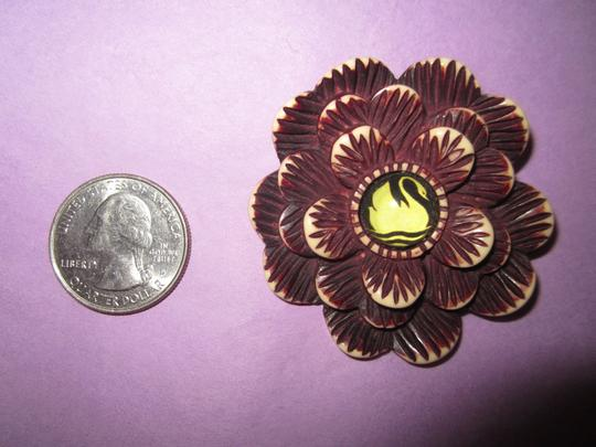Other Hotcakes Swan Flower Handcrafted Carved Deco Crafts Bakelite-Look Pin