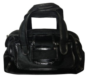 Pierre Hardy Calfskin Hide Patent Leather Leather Inside Hardy Boston Trim Satchel in Black