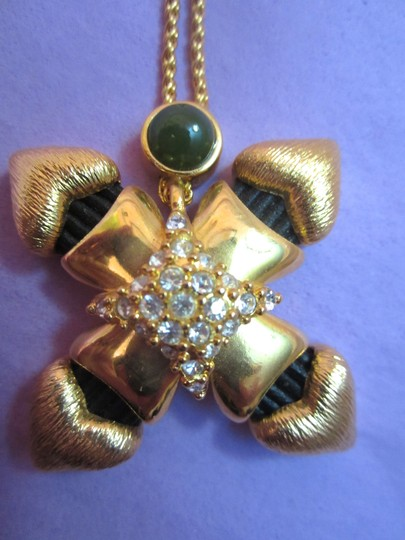 Ron Rizzo RON RIZZO GOLD-PLATED GREEN CABOCHON CRYSTAL CHUNKY SIGNED PENDANT NECKLACE