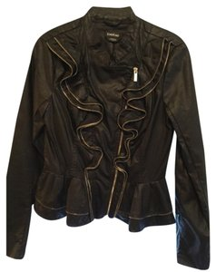 bebe Faux Leather Ruffle Motorcycle Jacket