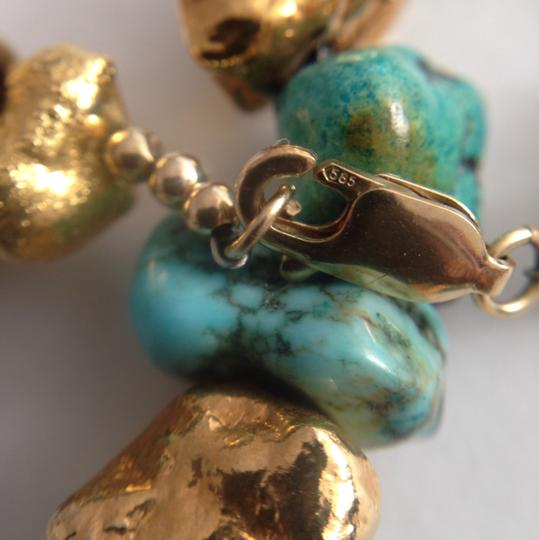 22k Gold Turquoise Necklace. 22k Gold Turquoise Necklace 14k Clasp.