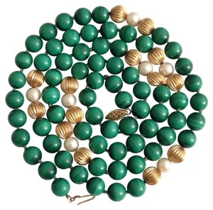 14k Gold Malachite Pearl Necklace. 14k,Gold,Malachite,Pearl,Necklace