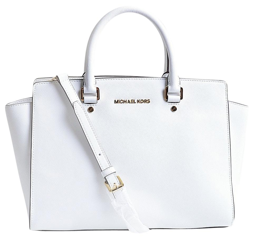 b96d2437bb96 Michael Kors Selma Large Top (B3401f) Optic White Saffiano Leather ...
