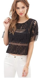 Forever 21 Mesh Lace Cropped Top Black
