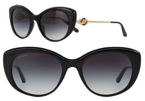 BVLGARI Bvlgari Sunglasses 2015 Limited Edition Gold Plated Cat Eye 18k Circle Le Gemme 8141 Black Onyx w Case