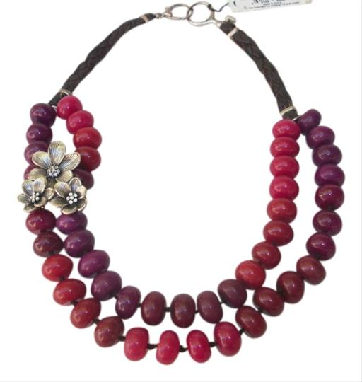 Fossil Fossil Beaded Jade Floral Leather Statement Necklace