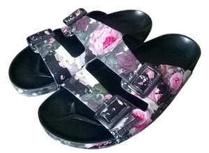 9d02207a3054 Givenchy Rose Floral Camouflage Multi Rare Italian Leather Boho Chic Camo  Print Silver Buckle Slides Womens Birkenstock Flats