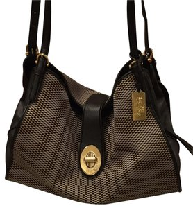 Coach Satchel in Jacquard and black
