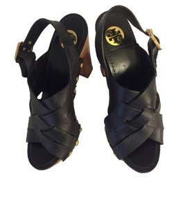 Tory Burch Black & wooden Platforms