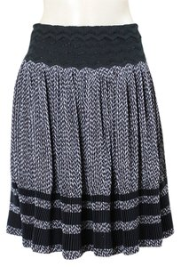 Jean-Paul Gaultier Pleated A-line Chevron Print Skirt Black, White, Gray