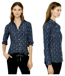 J.Crew Boy Shirt Bird Print Cute Patterns Cotton Silk Buttons Casual Work Business Casual Button Down Shirt navy