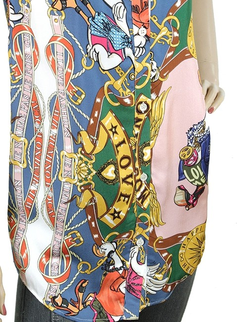 Love Moschino Print Sleeveless Chain Button Down Shirt Pink, Blue, Yellow, Gold, Red