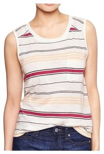 Gap Slub Muscle Round Neckline Top Cream Stripe