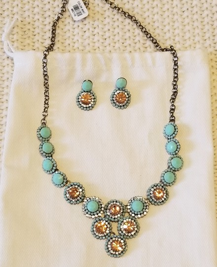 Francesca's Mint and smoky topaz necklace NWT, earrings wo tag