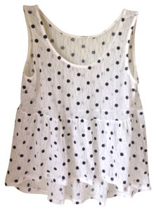 Lovely 153 Polka Dot Lace Crop Retro Top White and Black