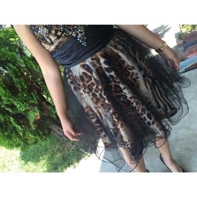 Cindy Collection short dress Black Tule and Leopard Print Cheetah Party Party Sexy Sequined Short Short Louis Vuitton Chanel Valentino Exclusive Rhinestone Vintage Studded on Tradesy
