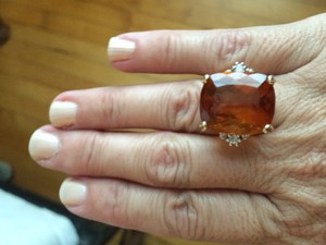 Beautiful Cocktail Ring. Large Topaz With Two Small Diamonds Set In Yellow Gold.