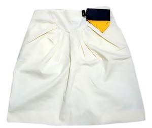 Fendi Structured Pleated Casual Summer Mini Skirt Cream Yellow