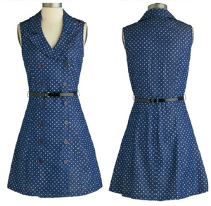 Modcloth short dress Blue and White Jean Denim Belt Buttons Cute on Tradesy
