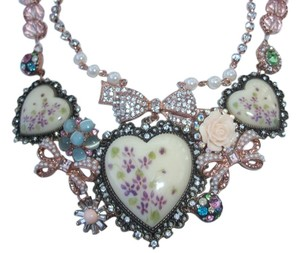 Betsey Johnson Betsey Johnson Vintage Bow Porcelain Floral Hearts Statement Necklace