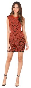 RVN Textured Knit Sheath Cap Sleeve Mini Bodycon Jacquard Intermix Dress