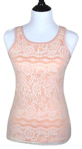 Maurices Scalloped Top pale salmon, pastel coral, peach with white lace overlay