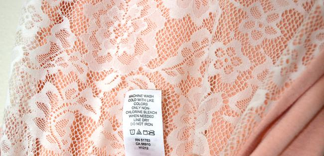 Maurices Scalloped Scalloped Jersey Soft Color Top pale salmon, pastel coral, peach with white lace overlay