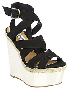 Steve Madden Reflectn Sandals Black Wedges