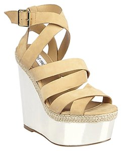 Steve Madden Reflectn Heel Heels Sandal Sandals Gold Nubuck Size 9.5 Natural Wedges