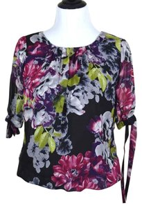 Maurices Tie Sleeves Bubble Hem Floral Loose Top black floral