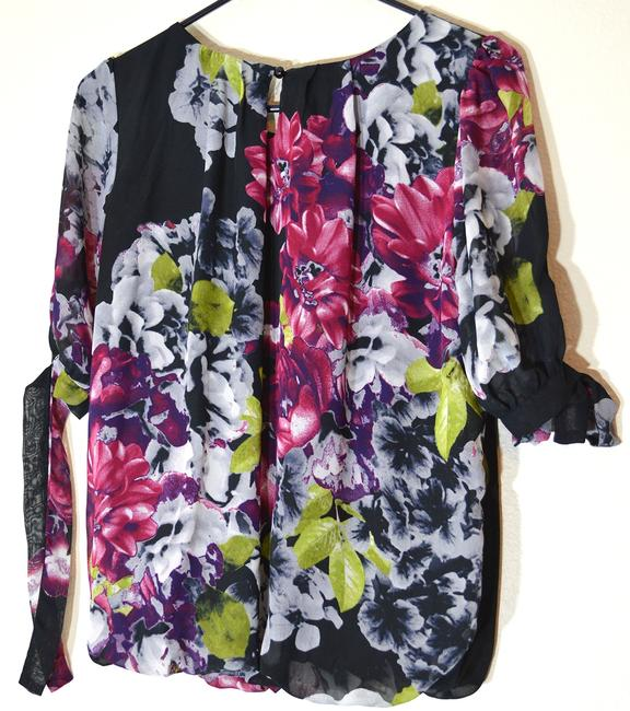 Maurices Tie Sleeves Bubble Hem Top black floral