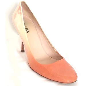 Prada Ombre Patent Leather Round Toe Pink, White Pumps