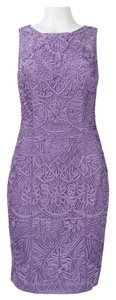 Sue Wong Sheath Embroidered Sleeveless Mesh Dress