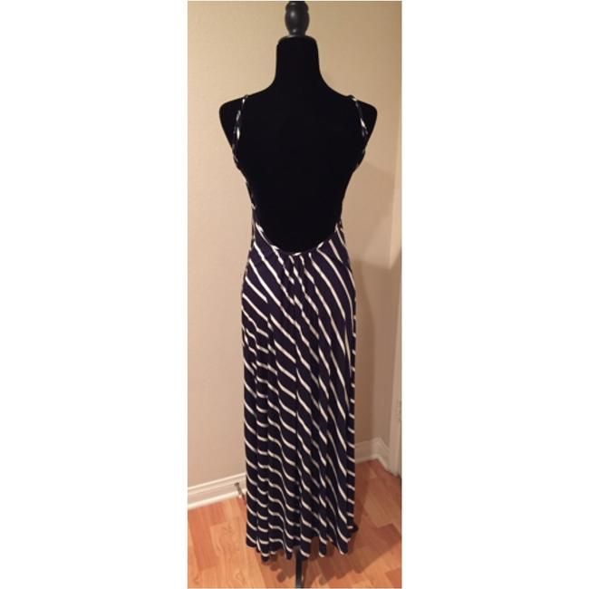 Navy with white strips Maxi Dress by Olivaceous